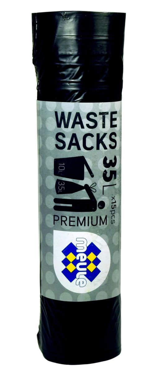 Мешки для мусора Meule Premium, с завязками, цвет: черный, 35 л, 15 шт17107100Мешки для мусора Meule Premium выполнены из полиэтилена. Мешки способны выдерживать большие объемы мусора - они прочные и крепкие. Благодаря ручкам удобны в переноске, а в завязанном виде помогут предотвратить распространение неприятного запаха.Мешки можно использовать для временного хранения вещей.