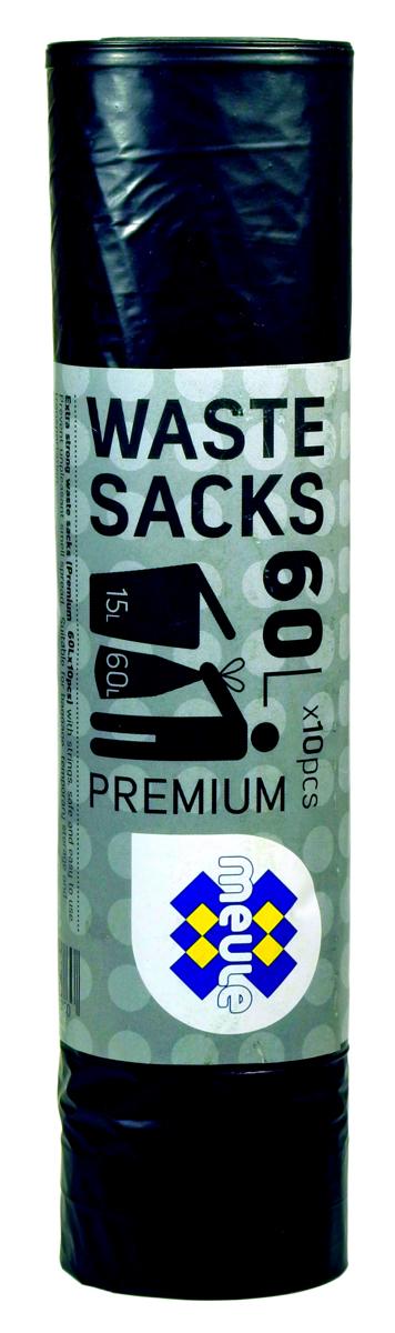 Мешки для мусора Meule Premium, с завязками, цвет: черный, 60 л, 10 штПП006_салатовый/желтый4607131080 Meule (WASTE SACKS) PREMIUM 60L X10шт. Мешки для мусора с завязками(черные) 1x30шт