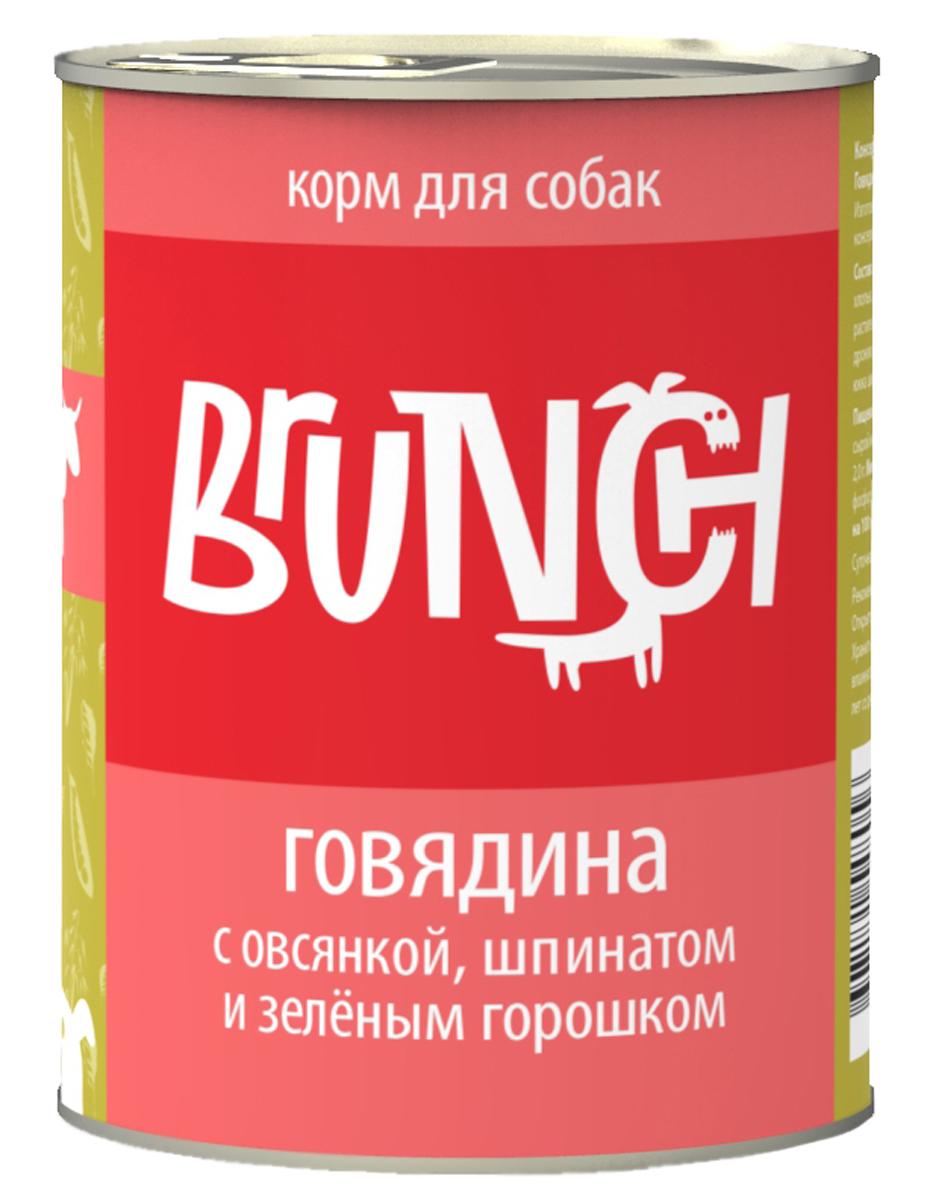 Консервы для собак Brunch, говядина с овсянкой, шпинатом и зеленым горошком, 340 г белковая добавка для животных г иркутск