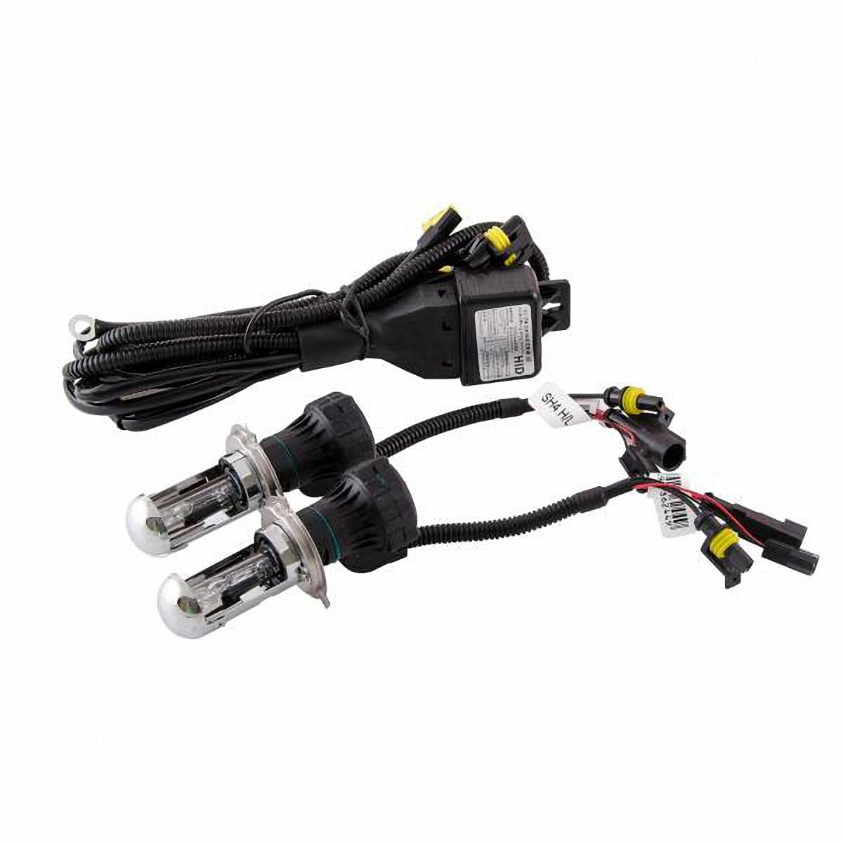 Лампа автомобильная Skyway, биксенон, цоколь H4, 35 Вт, 12 В, 2 шт. SH4 H/L 6000K10503Данная биксеноновая лампа под цоколь H4 применяется в автомобилях со световой системой, в которой в одной лампе совмещены ближний и дальний свет (в одной лампе 2 спирали). Автолампа биксенон SKYWAY устойчива к тряскам, имеет продолжительный срок эксплуатации. За счет лучшего освещения дорожной разметки и дорожных знаков, вы будете чувствовать себя уверенно в плохих погодных условиях и в темное время суток. А мягкий бело-желтый свет лампы не ослепляет водителей встречного потока автомобилей.Особенности: Защита от короткого замыкания, перенапряжения, низкого напряжения Комплект предназначен для установки в посадочные места галогеновых автомобильных ламп Упрощенная инсталляция на любой автомобиль без замены штатной проводки Колба лампы изготовлена из кварцевого стекла Водонепроницаемый корпус Короткое время розжига Характеристики: Цветовая температура: 6000К Цоколь: Н4 Мощность: 35 Вт Напряжение: 12В Комплектация: Лампа газоразрядная биксеноновая - 2 шт. Провод питания - 1 шт. Гарантийный талон - 1 шт.