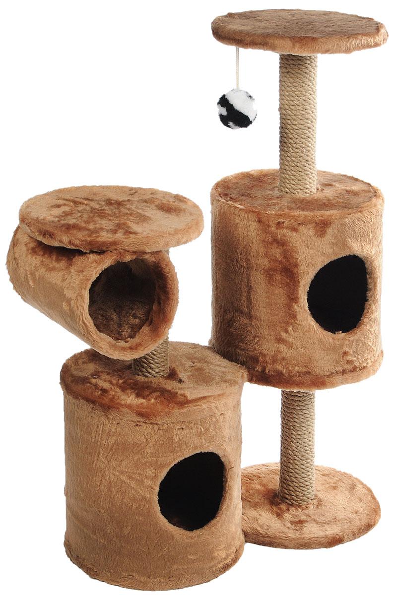 Игровой комплекс для кошек ЗооМарк Базилио, цвет: темно-коричневый, бежевый, 70 х 31 х 97 см0120710Игровой комплекс для кошек ЗооМарк Базилио выполнен из высококачественного дерева и обтянут искусственным мехом. Изделие предназначено для кошек. Ваш домашний питомец будет с удовольствием точить когти о специальные столбики, изготовленные из джута. А отдохнуть он сможет либо на полках разной высоты, либо в домиках. Также комплекс оснащен подвесной игрушкой, привлекающей внимание кошки.Общий размер: 70 х 31 х 97 см.Размер домиков: 31 х 31 х 32 см.Диаметр полок: 31 см.