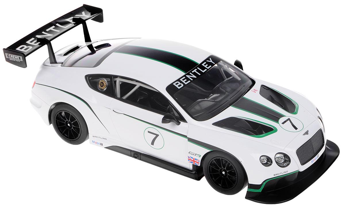 """Радиоуправляемая модель Rastar """"Bentley Continental GT3"""" станет отличным подарком любому мальчику! Все дети хотят иметь в наборе своих игрушек ослепительные, невероятные и крутые автомобили на радиоуправлении. Тем более, если это автомобиль известной марки с проработкой всех деталей, удивляющий приятным качеством и видом. Одной из таких моделей является автомобиль на радиоуправлении Rastar """"Bentley Continental GT3"""". Это точная копия настоящего авто в масштабе 1:14. Возможные движения: вперед, назад, вправо, влево, остановка. Имеются световые эффекты. Пульт управления работает на частоте 27 MHz. Для работы игрушки необходимы 5 батареек типа АА (не входят в комплект). Для работы пульта управления необходима 1 батарейка 9V (6F22) (не входит в комплект)."""