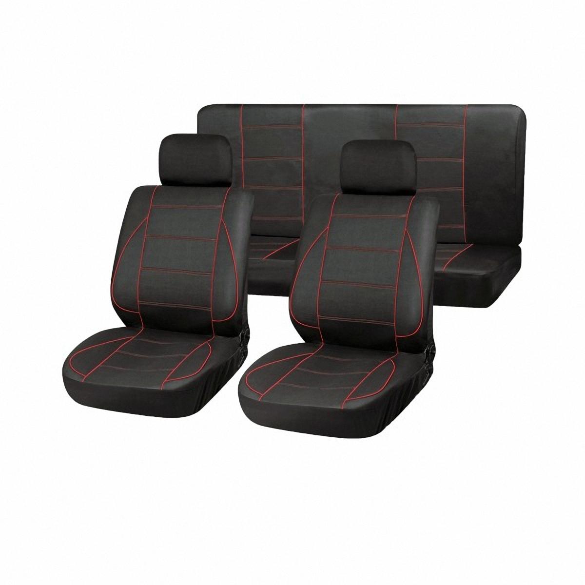 Чехлы автомобильные Skyway. SW-101070 BK/RD/S01301022S03001013Комплект классических универсальных автомобильных чехлов Skyway изготовлен из полиэстера. Чехлы защитят обивку сидений от вытирания и выцветания. Благодаря структуре ткани, обеспечивается улучшенная вентиляция кресел, что позволяет сделать более комфортными долгое пребывание за рулем во время дальней поездки.