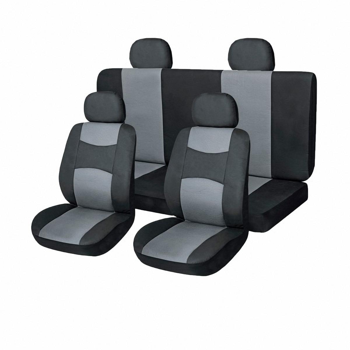 Чехлы автомобильные Skyway. SW-101046 BK/GY S/S01301013CA-3505Комплект классических универсальных автомобильных чехлов Skyway изготовлен из искусственной кожи. Чехлы защитят обивку сидений от вытирания и выцветания. Благодаря структуре ткани, обеспечивается улучшенная вентиляция кресел, что позволяет сделать более комфортными долгое пребывание за рулем во время дальней поездки.