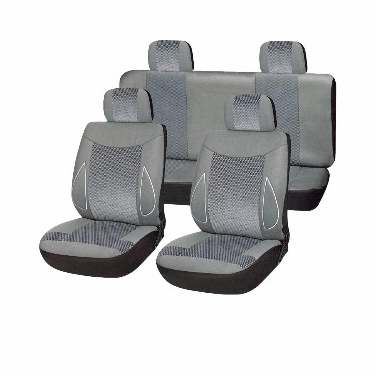 Чехлы автомобильные Skyway. SW-101083 GY/S01301002CA-3505Комплект классических универсальных автомобильных чехлов Skyway изготовлен из велюра. Чехлы защитят обивку сидений от вытирания и выцветания. Благодаря структуре ткани, обеспечивается улучшенная вентиляция кресел, что позволяет сделать более комфортными долгое пребывание за рулем во время дальней поездки.