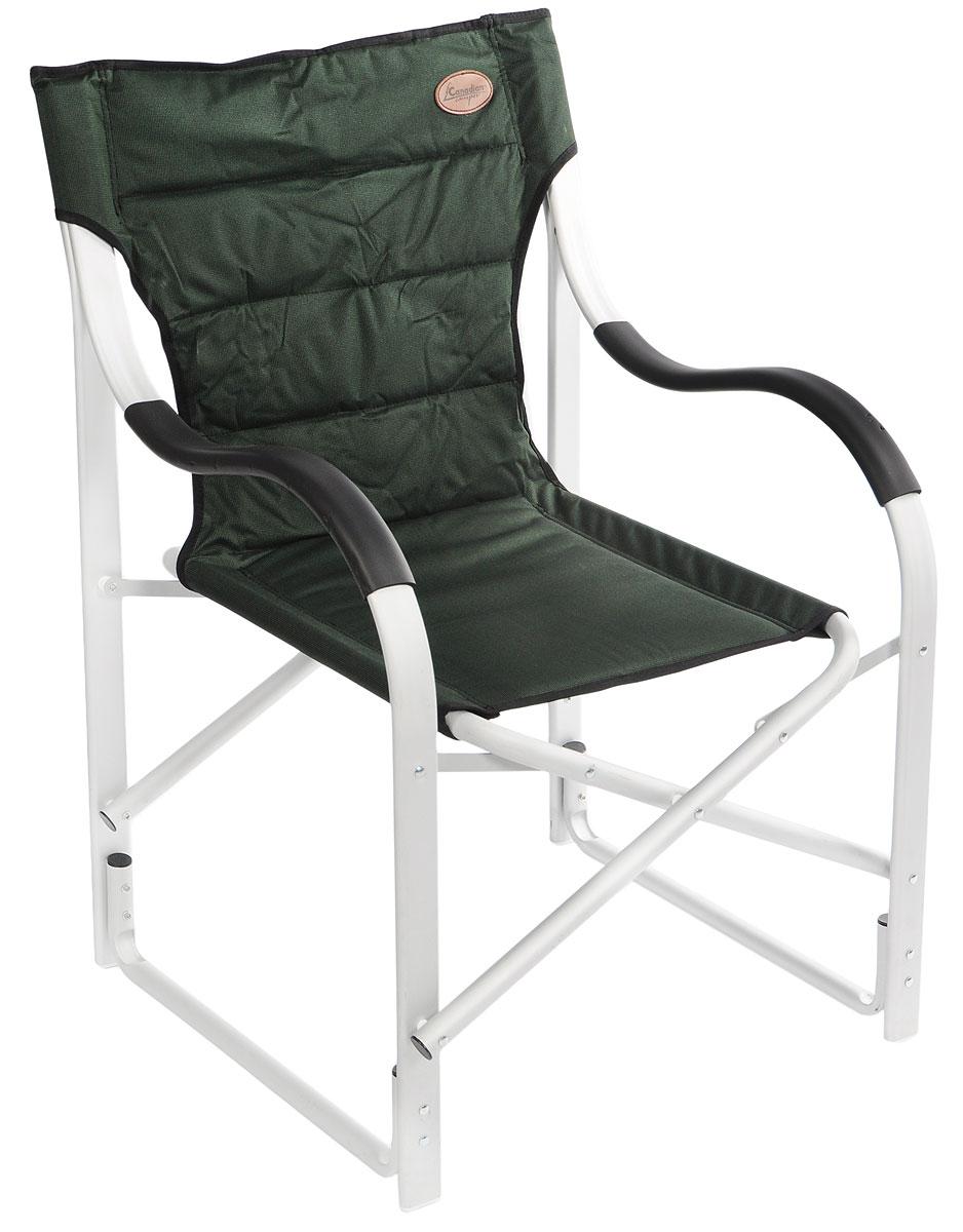 Кресло складное Canadian Camper CC-777AL, цвет: зеленый, стальной, черный31100024Canadian Camper CC-777AL - комфортное складное кресло с мягкими подлокотниками. Каркас выполнен из прочной алюминиевой трубы. Пластиковые накладки на ножках не дают креслу царапать пол. В сложенном виде кресло не занимает много места.