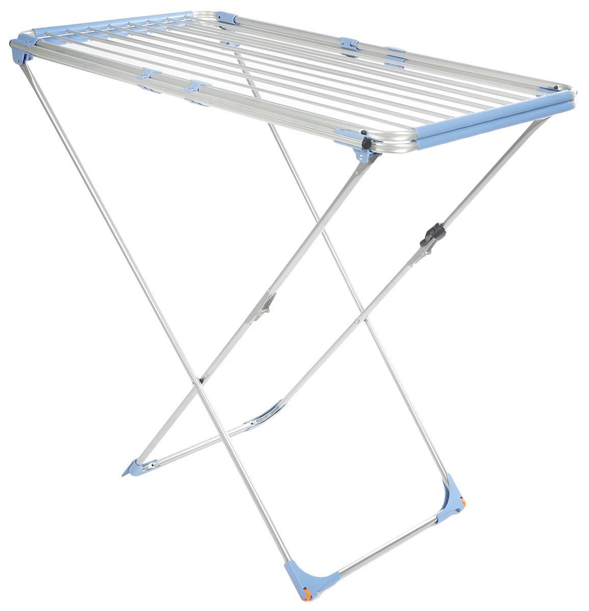 Сушилка для белья Gimi Duo Alu, напольная, цвет: голубой, стальнойGC020/00Напольная сушилка для белья Gimi Duo Alu, изготовленная из стали, проста и удобна в использовании. Идеально подходит для любых помещений. Сушилка оснащена стальными рейками. С помощью телескопических направляющих может раздвигаться, что позволяет свободно развесить как большие простыни, так и белье небольшого размера. Защитные уголки на ножках предотвратят появление царапин на полу. Сушилка для белья легко складывается и в таком состоянии занимает мало места, потому вам легко будет убрать ее в любое удобное для вас место.Минимальная длина сушилки: 105 см.Максимальная длина сушилки: 209 см.Ширина сушилки: 60 см.Высота сушилки: 97 см.Общая длина реек: 22 м.