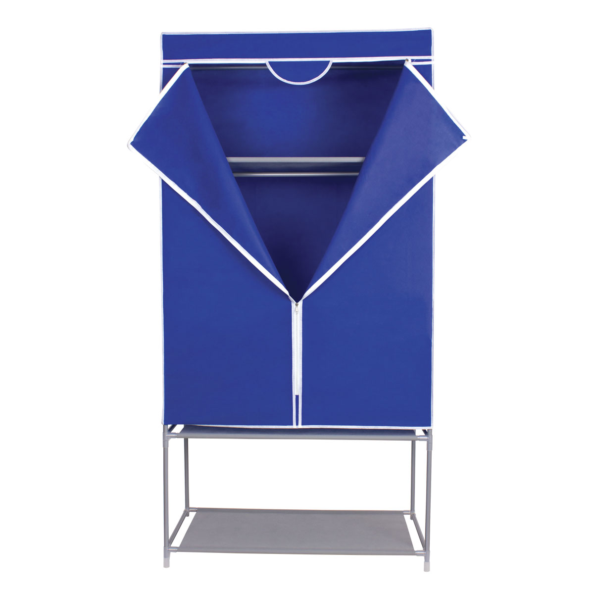 Гардероб для хранения одежды Miolla, цвет: синий, 175 х 87 х 46 смFS-80423Гардероб Miolla - это идеальное решение для хранения одежды, обуви и аксессуаров. Само изделие выполнено из нетканого материала, а каркас - из прочного металла, благодаря чему изделие не деформируется и отлично сохраняет форму. Гардероб имеет перекладину, верхнюю полку и полку для обуви. Такой гардероб поможет с легкостью организовать пространство в шкафу или гардеробе.