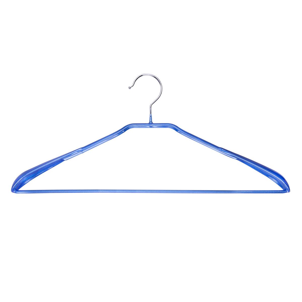 Вешалка для одежды Miolla, с расширенными плечиками, цвет: синий, 42 х 19 х 3,5 смS03301004Универсальная вешалка для одежды Miolla выполнена из прочной стали. Специальное резиновое покрытие предотвращает соскальзывание одежды. Изделие оснащено перекладиной для брюк и расширенными плечиками. Вешалка - это незаменимая вещь для того, чтобы ваша одежда всегда оставалась в хорошем состоянии.