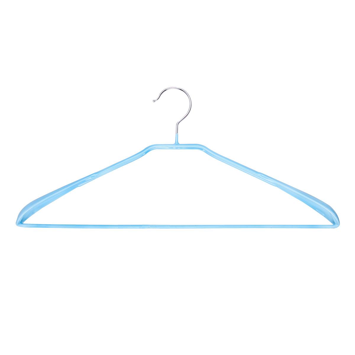 Вешалка для одежды Miolla, с расширенными плечиками, цвет: голубой, 42 х 19 х 3,5 смU210DFУниверсальная вешалка для одежды Miolla выполнена из прочной стали. Специальное резиновое покрытие предотвращает соскальзывание одежды. Изделие оснащено перекладиной для брюк и расширенными плечиками. Вешалка - это незаменимая вещь для того, чтобы ваша одежда всегда оставалась в хорошем состоянии.