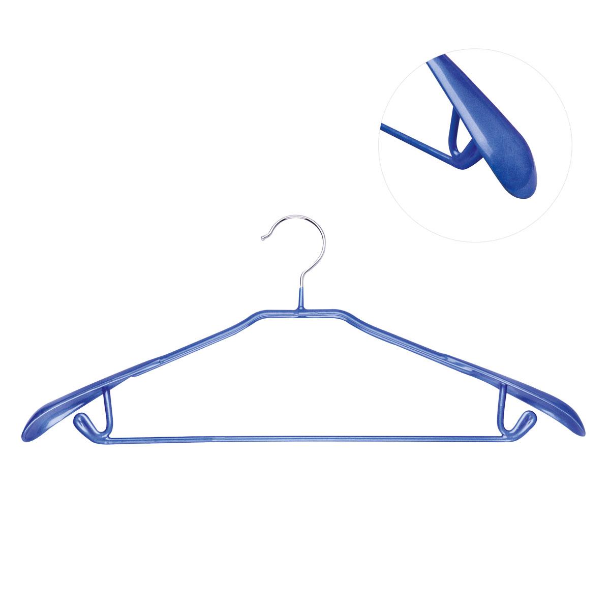 Вешалка для брюк Miolla, цвет: синий, длина 43 смRG-D31SВешалка для брюк Miolla выполнена из металла с покрытием синего цвета. Крючки вешалки прорезинены, что исключает случайное повреждение одежды. Вешалка Miolla станет практичным и полезным аксессуаром в вашем гардеробе.Длина: 43 см.