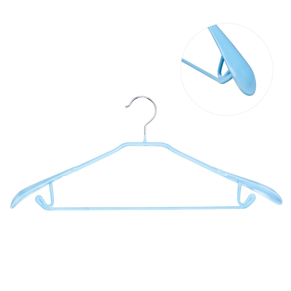 Вешалка для брюк Miolla, цвет: голубой, длина 43 см8812Вешалка для брюк Miolla выполнена из металла со специальным резиновым покрытием. Такое покрытие исключает случайное повреждение одежды и ее соскальзывание. Изделие оснащено перекладиной, расширенными плечиками и крючками для юбок и брюк.Вешалка Miolla станет практичным и полезным аксессуаром в вашем гардеробе.Длина: 43 см.