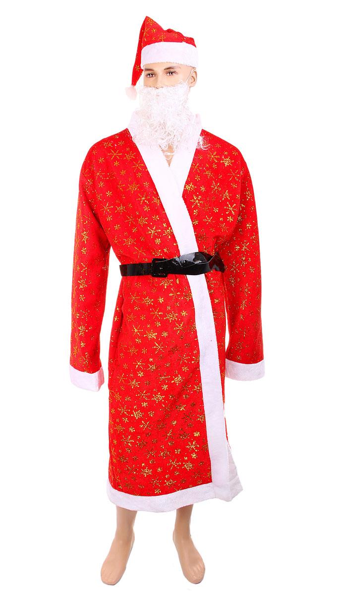 """Новогодний костюм """"Sima-land"""", выполненный из текстиля, состоит из шубки, колпака и ремня. Костюм выполнен в бело-красной гамме и декорирован снежинками из золотистых блесток и белой меховой опушкой. К костюму также прилагается борода из искусственных волос на резинке с прорезью для рта. Такой костюм, несомненно, внесет нотку задора и веселья и станет завершающим штрихом в создании праздничного образа. Веселое настроение и масса положительных эмоций вам будут обеспечены! Материал: текстиль, искусственные волосы. Размер: 50 - 52. Длина шубы: 138 см. Длина рукавов: 72 см. Обхват в плечах: 57 см. Обхват колпака: 58 см. Высота колпака: 42 см. Длина ремня: 128 см. Ширина ремня: 4 см. Длина бороды: 26 см. Ширина бороды: 25 см."""