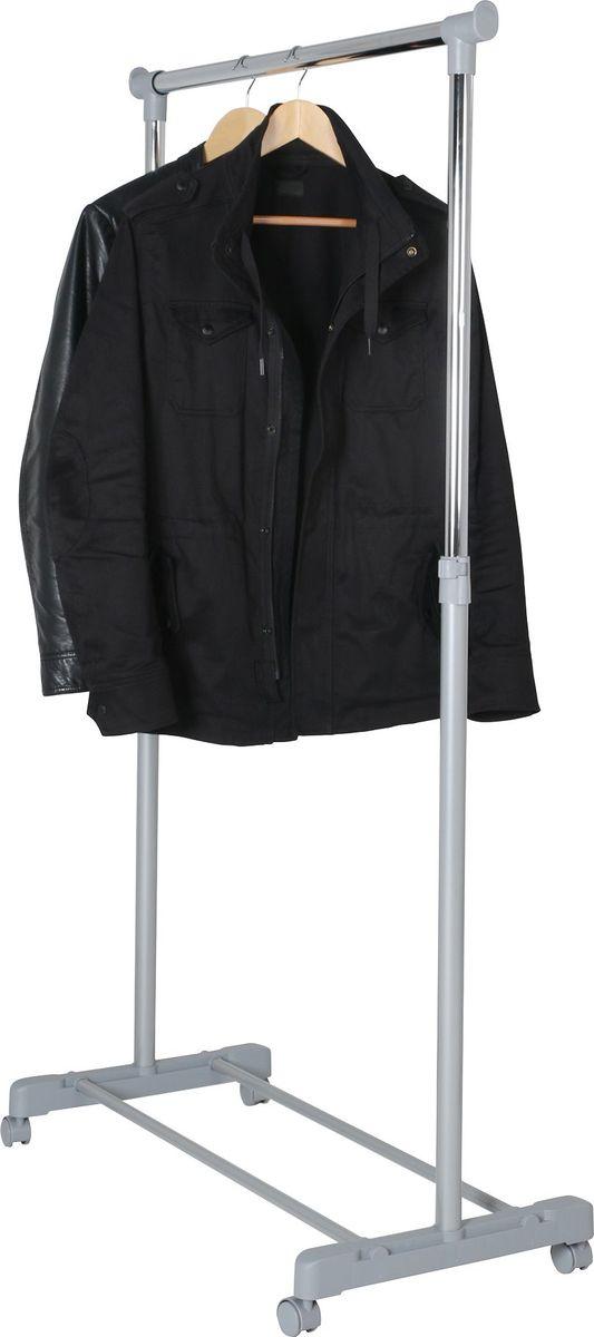 Стойка для одежды Axentia, на колесиках, высота 95-170 смFS-80423Экономичная и практичная стойка Axentia предназначена для хранения одежды и аксессуаров. Каркас стойки выполнен из хромированного металла. Высота стойки регулируется. Стойка имеет высокопрочные пластиковые крепежи, основание для хранения обуви и оснащена четырьмя колесиками со стопорами, что обеспечивает мобильность ее перемещения. Изделие снабжено быстросъемными надежными зажимами. Современный минималистический дизайн подойдет для любого помещения. Максимально допустимая нагрузка на стойку до 15 кг.Толщина штанги: 2,7 см. Толщина штанги 2,7 см. Размер вешалки 85 х 45 х 95-170 см. Упаковка коробка- 92,7 х 22,6 х 5,2 см.