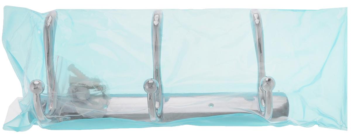 Вешалка настенная РМС, 3 крючка370357Настенная вешалка РМС является функциональным элементом, который прекрасно украсит интерьер бани или сауны. Изделие изготовлено из латуни с хромированным покрытием и крепится с помощью шурупов (входят в комплект). Вешалка оснащена 3 двойными крючками, на которые вы сможете повесить одежду.