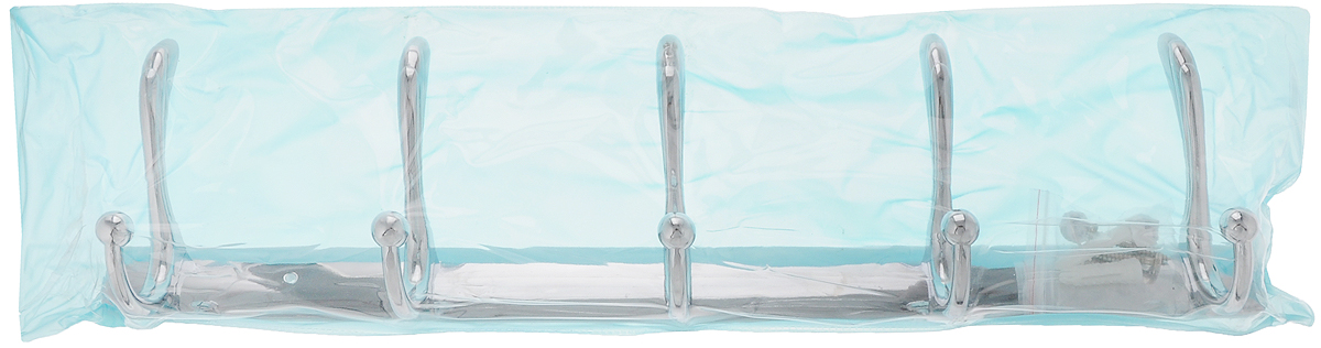 Вешалка настенная РМС, 5 крючков12723Настенная вешалка РМС является функциональным элементом, который прекрасно украсит интерьер бани или сауны. Изделие изготовлено из высококачественного металла с хромированным покрытием и крепится с помощью шурупов (входят в комплект). Вешалка оснащена 3 двойными крючками, на которые вы сможете повесить одежду.