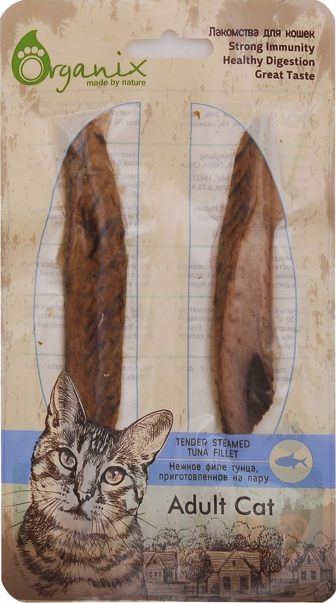 Лакомство для кошек Organix, нежное филе тунца, приготовленное на пару0120710Нежное филе тунца Organix, выполненное на пару, позволит вам не только порадовать своего любимца, но и позаботиться о его здоровом питании. Продукт обладает уникальной рецептурой, сохраняющей все полезные качества рыбы и неповторимый вкус безо всяких добавок и консервантов.Состав: филе полосатого тунца.Пищевая ценность: белки 24%, жиры 1%, зола 3%, клетчатка 1%, влажность 70%.