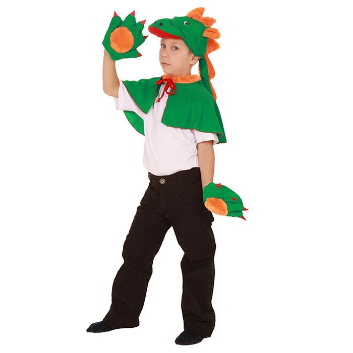 Карнавальный костюм для мальчика Вестифика Дракон, цвет: зеленый, оранжевый. 103 013. Размер 98/122 -  Карнавальные костюмы и аксессуары