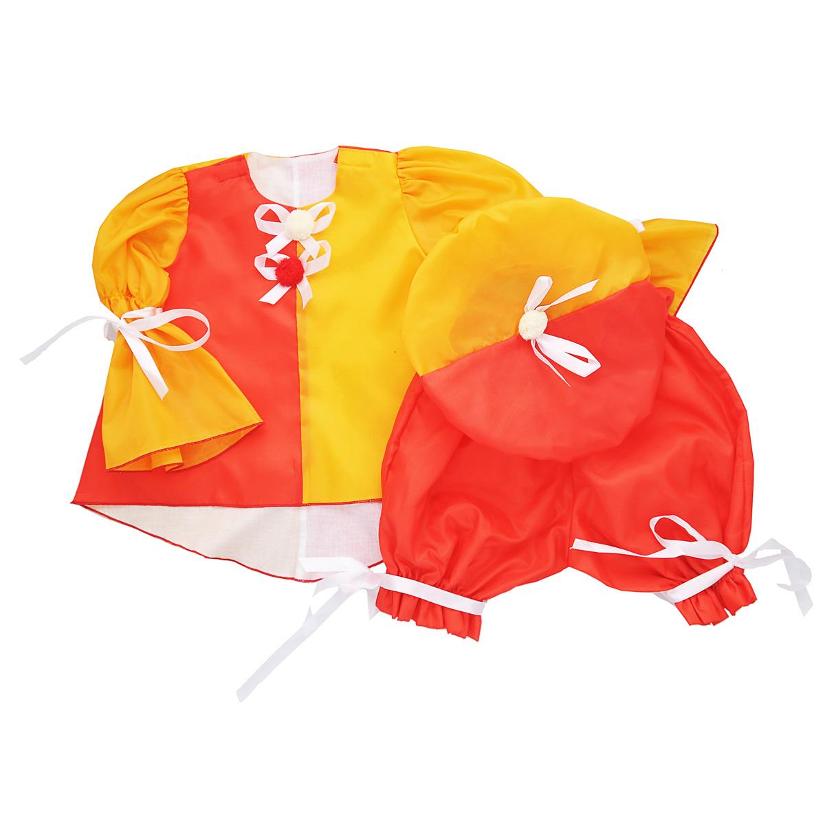 Карнавальный костюм для девочки Вестифика Клоунесса, цвет: красный, желто-оранжевый. 102 017. Размер 98/116 -  Карнавальные костюмы и аксессуары