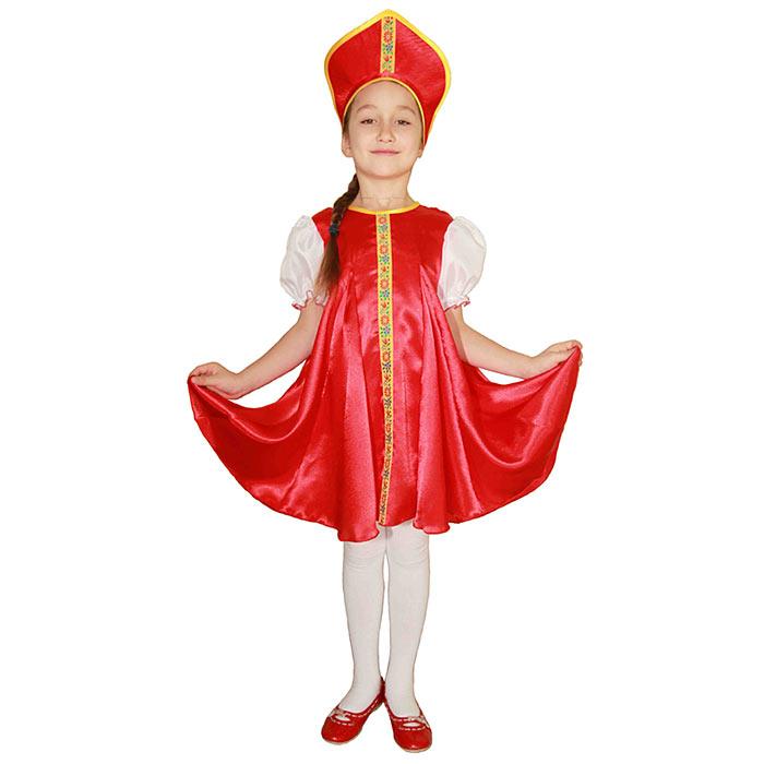 Карнавальный костюм для девочки Вестифика Царевна, цвет: красный, белый. 102 027. Размер 110/116 -  Карнавальные костюмы и аксессуары