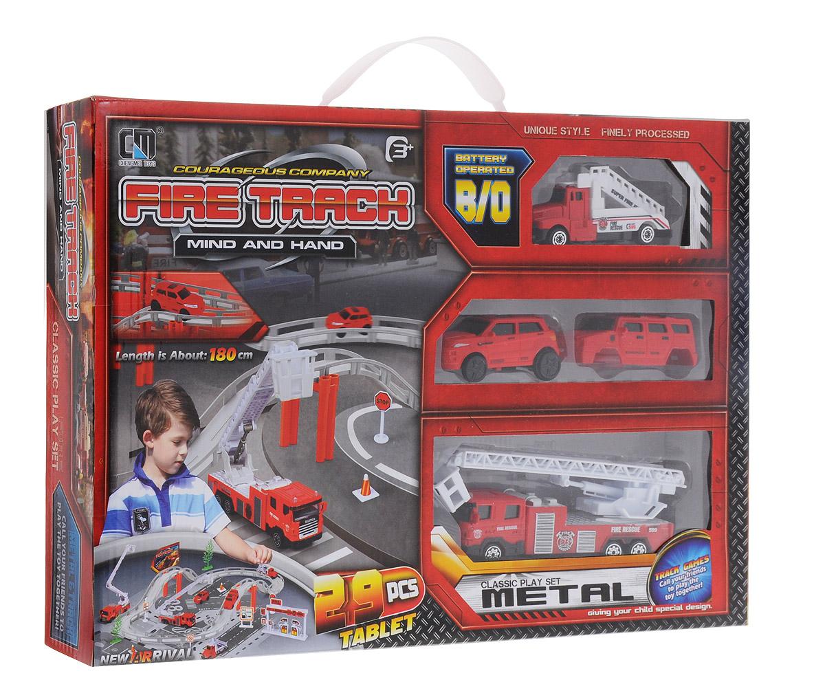 Junfa Toys Игрушечный трек Пожарная станция motormax игрушечный трек мини заправочная станция