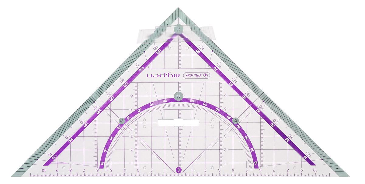Herlitz Треугольник My Pen со съемным держателем цвет светло-бирюзовый фиолетовый 25 см182412Неломающийся треугольник Herlitz My Pen со съемным держателем, выполненный из прочного пластика, подходит как для правшей, так и для левшей. Треугольник Herlitz My Pen - это незаменимый инструмент для построения и измерения углов. Высокое качество исполнения гарантирует длительный срок службы.