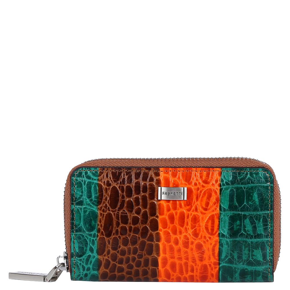 Ключница женская Fabretti, цвет: коричневый, оранжевый, бирюзовый. 1505120139864|Серьги с подвескамиРоскошная женская ключница от итальянского бренда Fabretti выполнена из натуральной кожи с приятной выпуклой фактурой. Дизайнерское сочетание оригинальных оттенков и яркая фурнитура в золотом цвете подчеркнут ваш неповторимый и изысканный стиль. Внутри находится 6 крючков и удобное крепление для ключей, на тыльной стороне дизайнеры разместили аккуратный карман для мелочей.