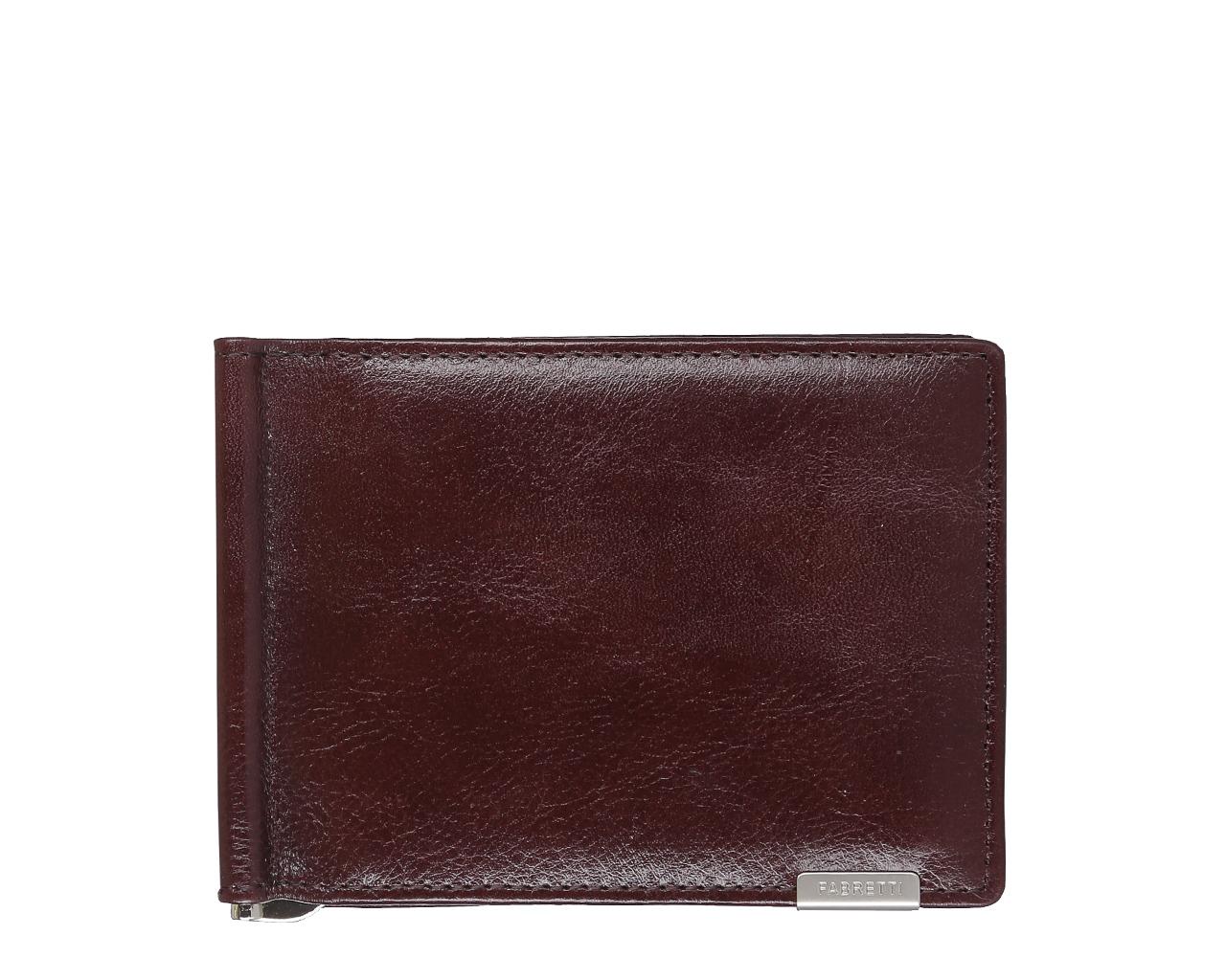Зажим для денежных банкнот мужской Fabretti, цвет: красно-коричневый. 32006BM8434-58AEМужской зажим для денег Fabretti выполнен из натуральной кожи. Внутри 6 отделений для кредитных карт, зажим для купюр. На тыльной стороне расположено отделение для монет с клапаном на кнопке.