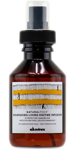 Davines Питательный оживляющий флюид New Natural Tech Nourishing Living Enzime Infusion, 100 мл97305Питательный оживляющий энзимный раствор несмываемый является флюидом, который защищает и кондиционирует поврежденные и сухие волосы. Во флюиде содержится фитоактив винограда, богатый полифенолами, а также энзим Superoxide Dismutase, основной функцией которого является борьба со свободными радикалами кислорода. Обе составляющие являются мощнейшими антиоксидантами. В состав флюида включены эфирные масла горького апельсина, мандарина и иланг-иланга, активно питающие ваши волосы. рH 5,5.