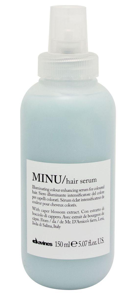 Davines Несмываемая сыворотка для окрашенных волос Essential Haircare New Minu Hair Serum, 150 мл4627090990583Особая серия ухаживающих средств для окрашенных волос. Основным активным элементом в составе является каперсник. Высокое содержание аминокислоты кверцетина в формуле, что обеспечивает защиту структуры волос. Полифенолы - это природные пигменты, которые к тому же продлевают жизнь локонам и не дают им окисляться.
