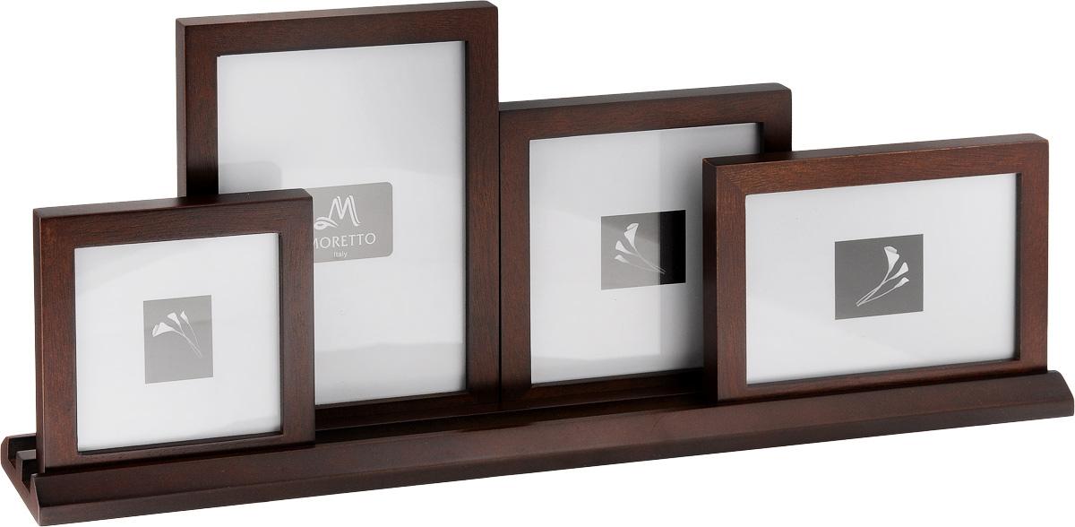 Фоторамка Moretto, на 4 фото74-0120Фоторамка-коллаж Moretto - прекрасный способ красиво оформить ваши фотографии. Фоторамка выполнена из дерева и защищена стеклом, предназначена для четырех фотографий. Фоторамка-коллаж представляет собой четыре фоторамки для фото разных размеров с подставкой. Такая фоторамка поможет сохранить в памяти самые яркие моменты вашей жизни, а стильный дизайн сделает ее прекрасным дополнением интерьера комнаты.Размеры фоторамок:- 14,7 х 14,7 см для фото 12х 12 см,- 14,8 х 19,6 см для фото 12 х 17 см, - 12,1 х 17,2 см для фото 10 х 15 см, - 12 х 12 см для фото 10 х 10 см,Размер подставки для фото: 50 х 6 см.