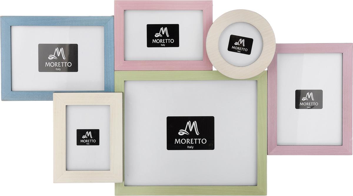 Фоторамка Moretto, на 6 фото. 238015Брелок для ключейФоторамка Moretto отлично дополнит интерьер помещения и поможет сохранить на память ваши любимые фотографии. Фоторамка выполнена из дерева и представляет собой коллаж из 6 рамочек с вертикальным и горизонтальным расположением фотографий. Изделие подвешивается к стене. Такая рамка позволит сохранить на память изображения дорогих вам людей и интересных событий вашей жизни, а также станет приятным подарком для каждого.Размер рамок:- 2 фоторамки 20,4 х 15,2 см для фото 13 х 18 см,- 2 фоторамки 18 х 12,7 см для фото 10 х 15 см, - фоторамка 27,8 х 22,8 см для фото 20 х 25 см, - круглая фоторамка диаметром 12,5 см для фото диаметром 9 см.Общий размер фоторамки: 64 х 36 см.