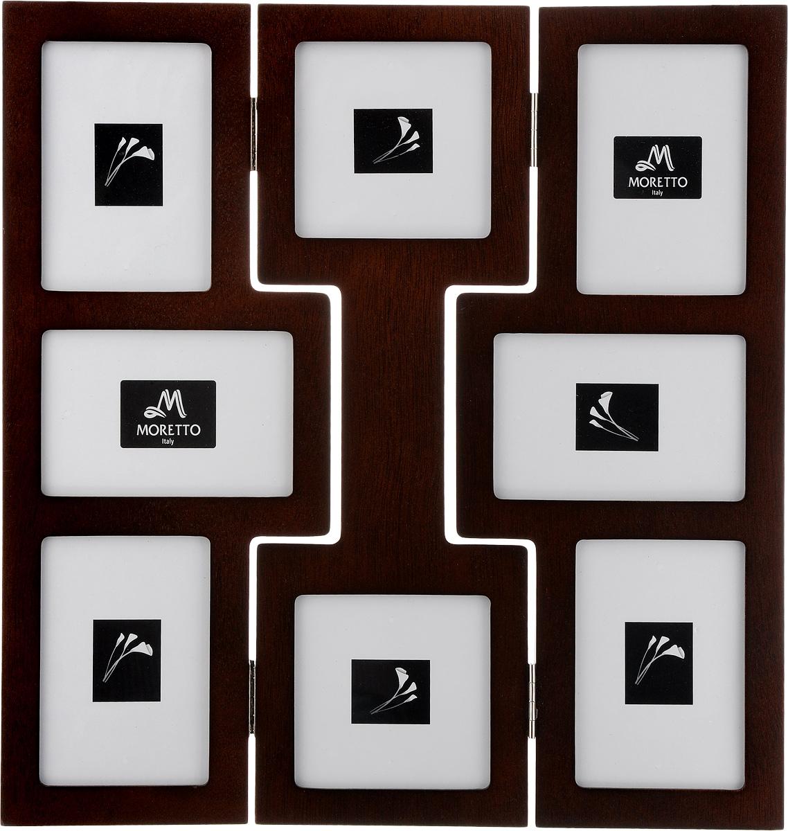 Фоторамка Moretto, на 8 фото. 23801189447Фоторамка Moretto - прекрасный способ красиво оформить ваши фотографии. Фоторамка выполнена из дерева и защищена стеклом, предназначена для восьми фотографий. Фоторамка-коллаж представляет собой восемь фоторамок для фото разных размеров оригинально соединенных между собой. Такая фоторамка поможет сохранить в памяти самые яркие моменты вашей жизни, а стильный дизайн сделает ее прекрасным дополнением интерьера комнаты.Размеры фоторамок:- 4 фоторамки 11,5 х 14,5 см для фото 9х 13 см,- 2 фоторамки 13 х 13 см для фото 10 х 10 см, - 2 фоторамки 10 х 15,5 см для фото 9 х 13 см,Общий размер фоторамки: 37 х 38 см