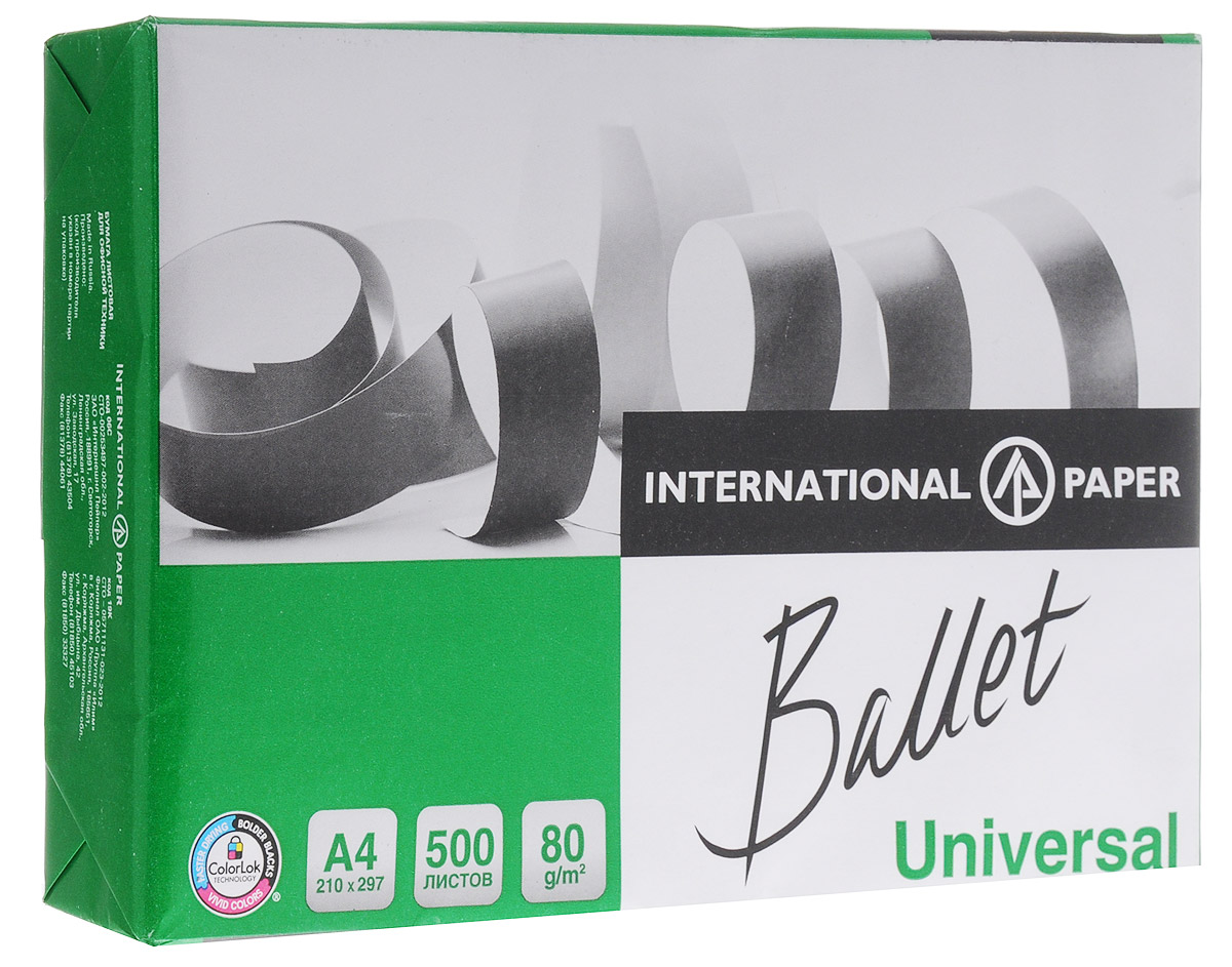 Ballet Бумага офисная Universal 500 листов А4FВТ-BAL.UNIVМногофункциональная офисная бумага Ballet Universal идеально подходит для печати графиков, иллюстраций, коммерческих предложений, важных отчетов и других типов документов. Высокая гладкость и непрозрачность бумаги гарантируют высокое качество печати на струйных и лазерных принтерах, а высокая степень белизны обеспечивает оптимальное воспроизведение изображений. Подходит для двухсторонней печати и может использоваться на разных типах офисного оборудования. Бумага Ballet Universal производится из древесины восстанавливаемых лесов с использованием отбелки без элементарного хлора. Бумага предает вашим распечаткам следующие свойства:Насыщенность черного цвета увеличивается на 16%, что делает изображение сверхчетким;Яркость цветов увеличивается на 25%, что делает изображение более интенсивным и естественным;Чернила высыхают в 2,5 раза быстрее, предотвращая размазывание.