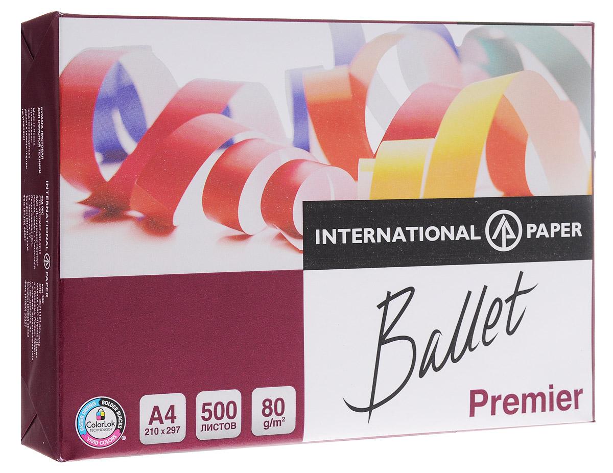 Многофункциональная офисная бумага Ballet Premier - бумага повышенного качества для престижных и важных документов. Гладкая, как шелк, бумага обеспечивает высочайшее качество печати на черно-белых и цветных, струйных и лазерных принтерах, копировальных аппаратах. Ее высокая степень белизны гарантирует высокую контрастность печати и четкость изображений. Жесткость, толщина и однородная структура бумаги обеспечивают безупречный результат печати для презентаций, деловой корреспонденции, цветных графиков, отчетов, писем и других важных документов.  Бумага Ballet Premier производится из древесины восстанавливаемых лесов с использованием отбелки без элементарного хлора. Бумага изготовлена по технологии ColorLok, которая предает вашим распечаткам следующие свойства:  Насыщенность черного цвета увеличивается на 16%, что делает изображение сверхчетким;  Яркость цветов увеличивается на 25%, что делает изображение более интенсивным и естественным;  Чернила высыхают в 2,5 раза быстрее, предотвращая размазывание.