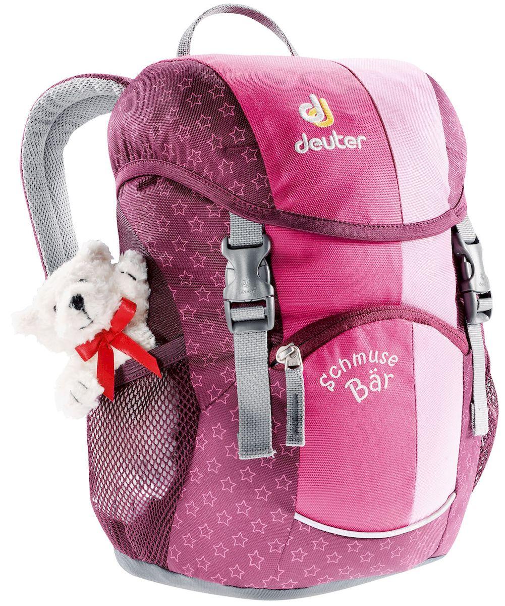Рюкзак детский Deuter Schmusebar, цвет: розовый, 8 л9040Детские рюкзаки Deuter - это настоящие хиты для детского сада, школы или походных приключений. Новые оригинальные вышивки, цветные набивные рисунки - есть от чего загореться глазам любого ребенка! Рюкзак Deuter Schmusebar рассчитан на детей от 3 лет, плюшевый мишка прилагается.Особенности: Удобная мягкая спинка; Новые S-образные плечевые лямки с мягкими краями; Нагрудный ремень; Два боковых сетчатых кармана; Именная бирка внутри; Отражатель 3М спереди и большой отражатель на переднем кармане для повышения безопасности; Удобные для детей застежки; Материал: Super-Polytex. Вес: 310 г. Объем: 8 л. Размеры: 34х20х16 см.