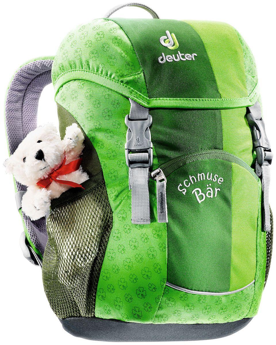 Рюкзак детский Deuter Schmusebar, цвет: зеленый, 8 л95936-911Детские рюкзаки Deuter - это настоящие хиты для детского сада, школы или походных приключений. Новые оригинальные вышивки, цветные набивные рисунки - есть от чего загореться глазам любого ребенка! Рюкзак Deuter Schmusebar рассчитан на детей от 3 лет, плюшевый мишка прилагается.Особенности: Удобная мягкая спинка; Новые S-образные плечевые лямки с мягкими краями; Нагрудный ремень; Два боковых сетчатых кармана; Именная бирка внутри; Отражатель 3М спереди и большой отражатель на переднем кармане для повышения безопасности; Удобные для детей застежки; Материал: Super-Polytex. Вес: 310 г. Объем: 8 л. Размеры: 34х20х16 см.