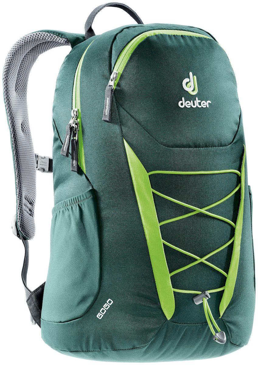 Рюкзак Deuter Gogo, цвет: зеленый, 25 лГризлиПредставляем обновленный, обтекаемый, с техническим дизайном рюкзак Deuter Gogo для школы, офиса и на каждый день. В нем сохранились все практичные опции, и добавилась новая комфортная подвесная система.Особенности: - спинка Airstripes для великолепной вентиляции;- очень комфортные, эргономичные, мягкие плечевые лямки;- легкий доступ в основное отделение через двухходовую U-образную молнию;- передний карман на молнии с карабином для ключей;- эластичные боковые карманы;- нагрудный ремешок с плавной регулировкой;- сменный поясной ремень;- главное отделение размером папки для бумаг;- отделение для документов;- эластичный корд на фронтальной части рюкзака;- внутренний карман для ценных вещей.Вес: 590 г.Объем: 25 л.Размеры: 46 x 30 x 21 см.Материал: Super-Polytex.