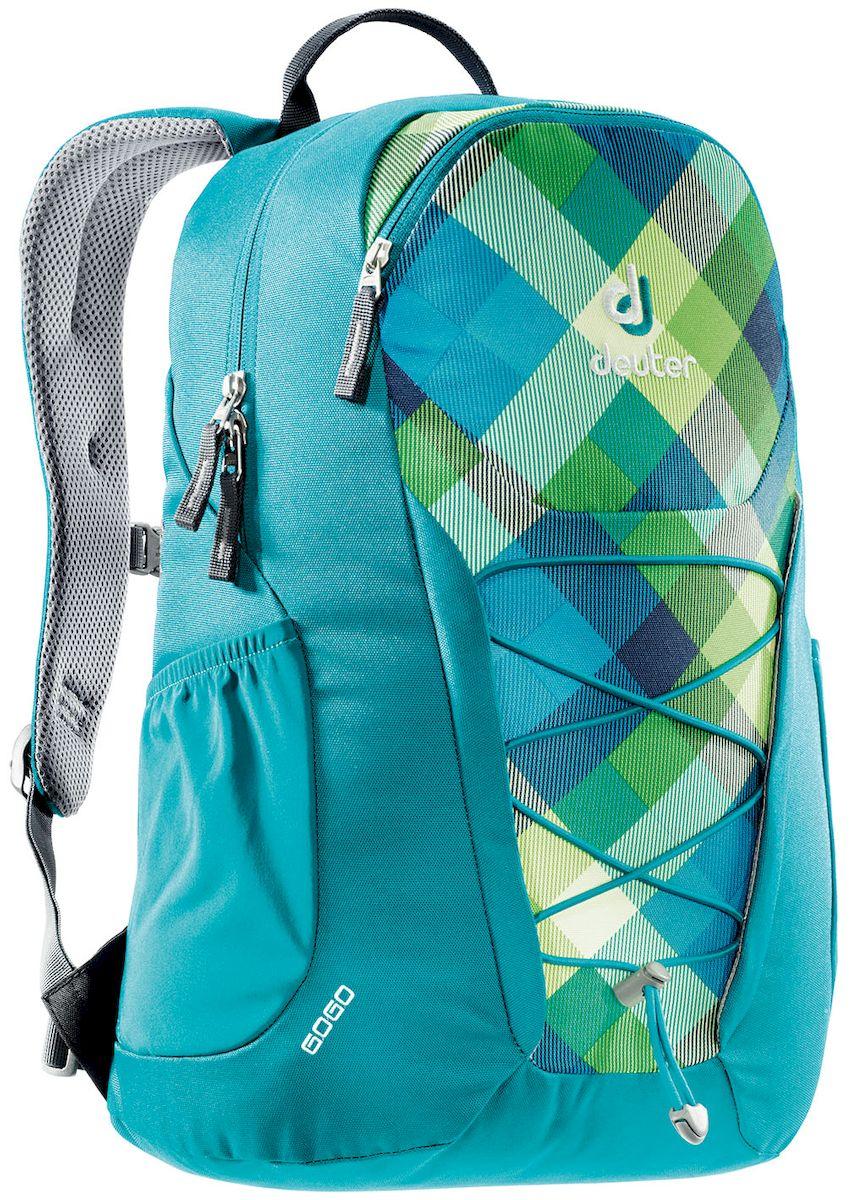 Рюкзак Deuter Gogo, цвет: мятный, 25 л7292Представляем обновленный, обтекаемый, с техническим дизайном рюкзак Deuter Gogo для школы, офиса и на каждый день. В нем сохранились все практичные опции, и добавилась новая комфортная подвесная система.Особенности: - спинка Airstripes для великолепной вентиляции; - очень комфортные, эргономичные, мягкие плечевые лямки;- легкий доступ в основное отделение через двухходовую U-образную молнию;- передний карман на молнии с карабином для ключей;- эластичные боковые карманы;- нагрудный ремешок с плавной регулировкой;- сменный поясной ремень;- главное отделение размером папки для бумаг;- отделение для документов;- эластичный корд на фронтальной части рюкзака;- внутренний карман для ценных вещей.Вес: 590 г.Объем: 25 л.Размеры: 46 x 30 x 21 см.Материал: Super-Polytex.