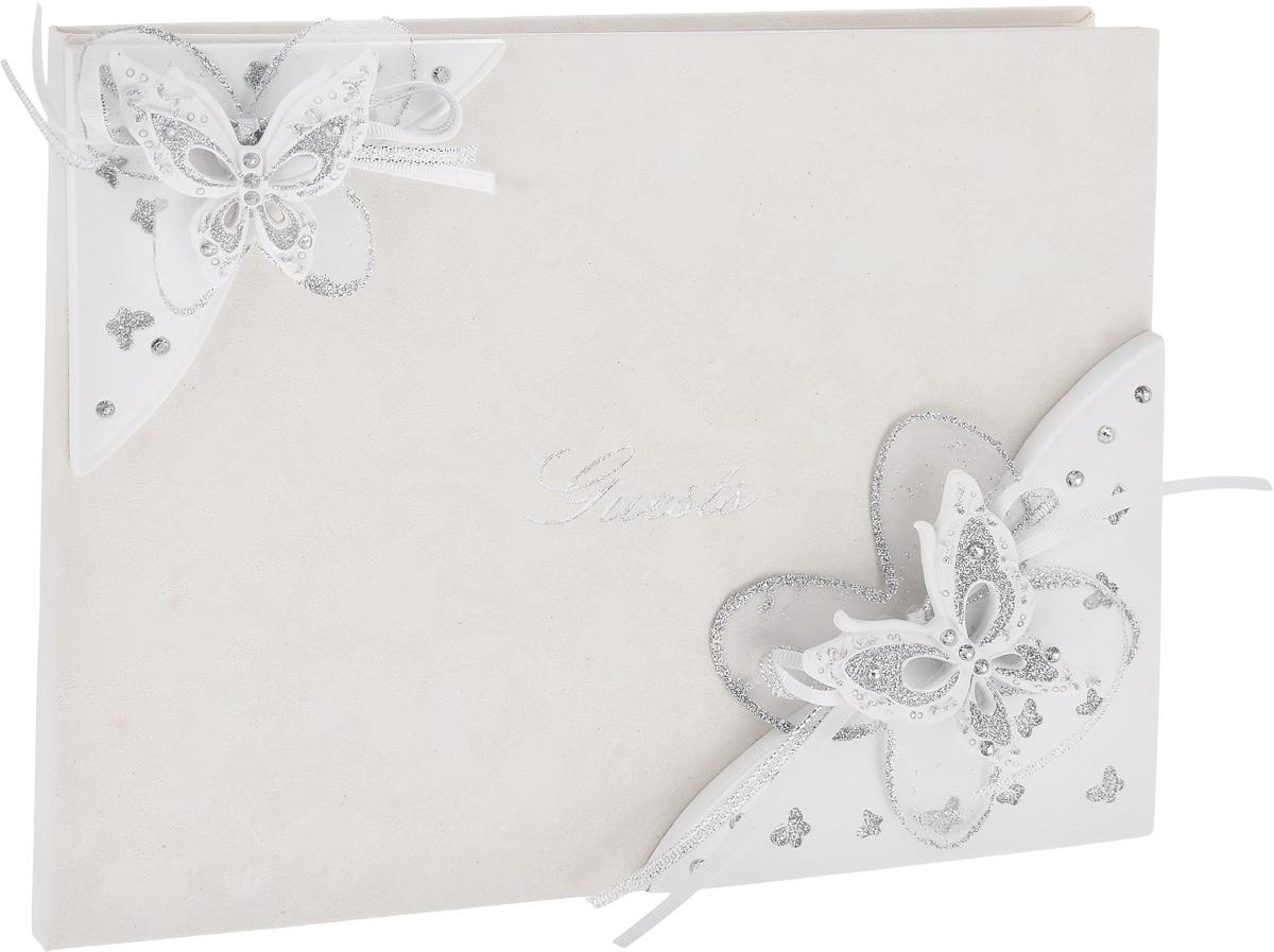 Книга пожеланий на свадьбу Win Max, 20 х 25 смNLED-454-9W-BKКнига пожеланий на свадьбу Win Max прекрасно подойдет для записипожеланий и напутствий новобрачным. Книга выполнена в нежном белом цвете, украшена красивыми объемными бабочками, покрытыми блестками. Надпись на обложке Questsвыполнена красивым рукописным шрифтом. Листы книги разлинованы, чтобыгостям было удобно писать на них самые теплые слова! Такая книга пожеланий ручной работы выглядит очень нежно и красиво! Размер книги: 20 х 25 см.