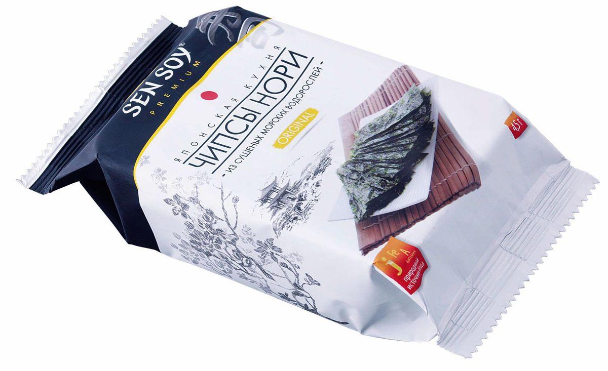 Sen Soy Чипсы-Нори из морской водоросли Original, 4,5 г0120710Чипсы Нори - популярная корейская легкая закуска из морской водоросли. Продукт для тех, кто трепетно относится к своему здоровью и заботится о стройной фигуре. Хрустящие пластинки нори, обжаренные на кунжутном масле, прекрасно утоляют голод и сохраняют все исключительные свойства морских водорослей. Вкусные и полезные они содержат растительный протеин, йод, железо, кальций, фосфор а также витамины А, В и С. На прогулке, перед телевизором, в кино и в дороге с Вами Чипсы Нори Sen Soy Premium – хрустите с удовольствием и пользой!