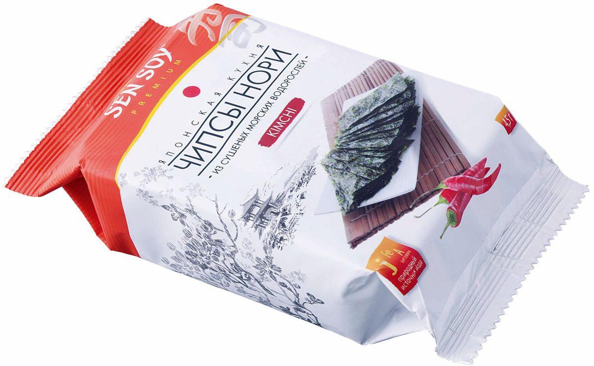 Sen Soy Чипсы-Нори из морской водоросли Kimchi, 4,5 г0120710Чипсы Нори - популярная корейская легкая закуска из морской водоросли. Продукт для тех, кто трепетно относится к своему здоровью и заботится о стройной фигуре. Хрустящие пластинки нори, обжаренные на кунжутном масле, прекрасно утоляют голод и сохраняют все исключительные свойства морских водорослей. Вкусные и полезные они содержат растительный протеин, йод, железо, кальций, фосфор а также витамины А, В и С. На прогулке, перед телевизором, в кино и в дороге с Вами Чипсы Нори Sen Soy Premium – хрустите с удовольствием и пользой!