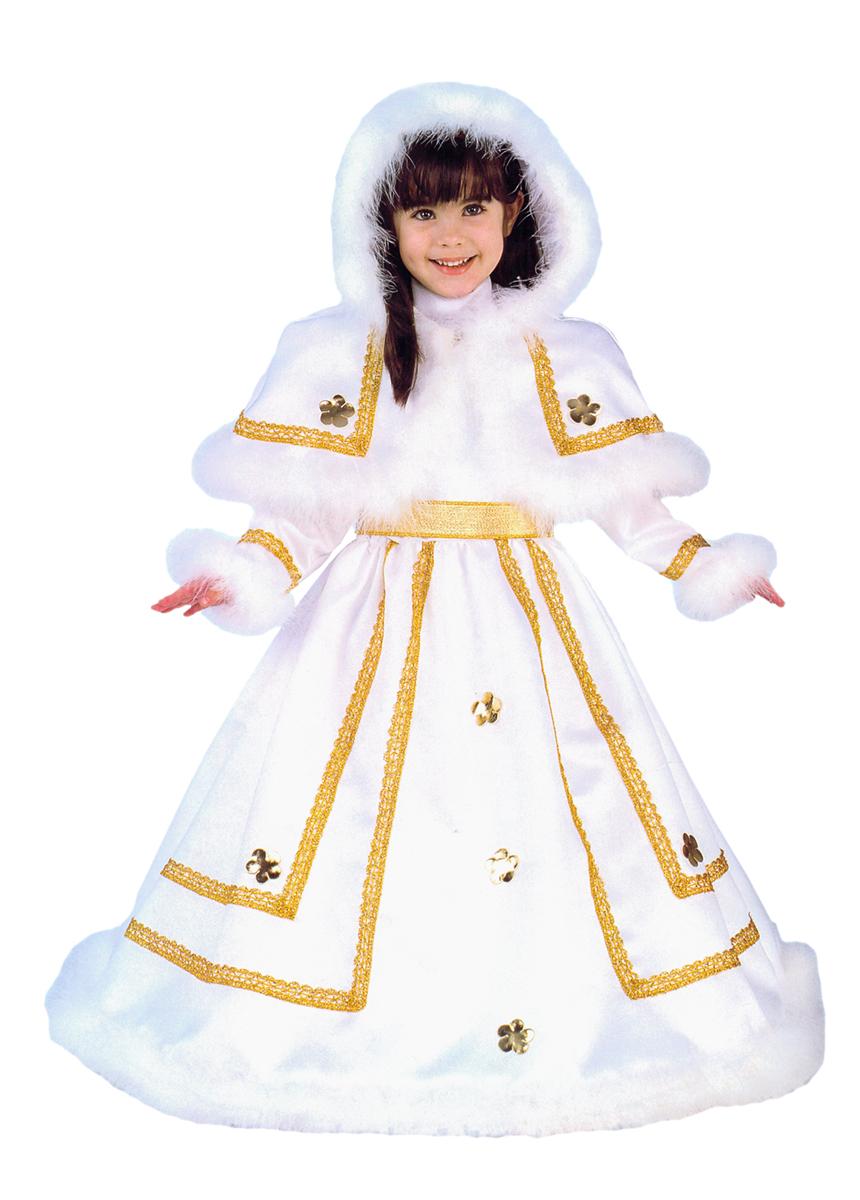Rio Карнавальный костюм для девочки Принцесса цвет белый золотой размер 34 (7-8 лет)