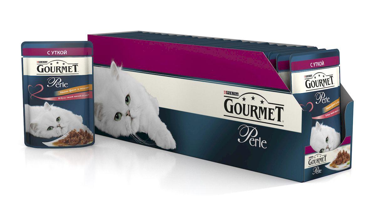 Консервы для кошек Gourmet Perle, мини-филе с уткой, 85 г, 24 шт101246Ваша кошка - настоящий гурман, и порой ей сложно угодить. Корм Gourmet Perle - это изысканное угощение с превосходным вкусом, которым ваша кошка будет наслаждаться каждый день. Ваш гурман оценит нежнейшие кусочки с мясом или рыбой, приготовленные в аппетитном соусе. Корм Gourmet Perle - изысканное угощение на каждый день.Рекомендации по кормлению: Суточная норма: 3-4 пакетика в день для взрослой кошки (средний вес 4 кг), в два приема. Данная суточная норма рассчитана для умеренно активных взрослых кошек, живущих в условиях нормальной температуры окружающей среды. В зависимости от индивидуальных потребностей кошки норма кормления может быть скорректирована для поддержания нормального веса вашей кошки. Подавайте корм комнатной температуры. Следите, чтобы у вашей кошки всегда была чистая, свежая питьевая вода. Условия хранения: Закрытый пакетик хранить в сухом прохладном месте. После открытия продукт хранить в холодильнике максимум 24 часа. Состав: мясо и продукты переработки мяса (в том числе курицы 4%), экстракт растительного белка, рыба и продукты переработки рыбы, минеральные вещества, сахара, красители, витамины.Добавленные вещества: МЕ/кг: витамин A: 800; витамин D3: 120; витамин Е: 18; мг/кг: железо: 9; йод: 0,2; медь: 0,8; марганец: 1,8; цинк: 15.Гарантируемые показатели: влажность 79,0%, белок 14,0%, жир 2,5%, сырая зола 2,2%, сырая клетчатка 0,5%.Вес: 85 г.Товар сертифицирован.