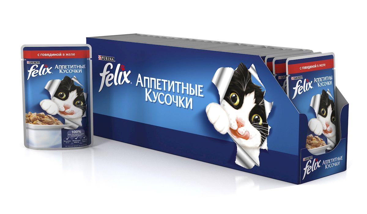 Консервы для кошек Felix, аппетитные кусочки с говядиной в желе, 85 г, 24 шт41632_24Felix Аппетитные кусочки - это совершенно особенный корм для кошек. У него такой аппетитный вид и аромат, словно его приготовили вы сами. Felix Аппетитные кусочки создан по специально разработанной рецептуре: это нежнейшие кусочки с мясом или рыбой, покрытые сочным желе. Ваш кот будет готов есть такую вкуснятину хоть каждый день - на завтрак, обед и ужин.Рекомендации по кормлению: Для взрослой кошки среднего веса (4кг) требуется примерно 3 пакетика в день. Кормление желательно разделить на два приема. Для беременных или кормящих кошек кормление без ограничений. Подавать корм при комнатной температуре. Следите, чтобы у вашей кошки всегда была чистая, свежая питьевая вода.Условия хранения: Закрытую упаковку хранить при температуре от +4°C до +35°C и относительной влажности воздуха не более 75%.После открытия продукт хранить в холодильнике максимум 24 часа.Состав: мясо и продукты его переработки (говядина мин.4%), экстракт растительного белка, рыба и продукты ее переработки, минеральные вещества, сахара, витамины.Добавленные вещества: МЕ/кг: Витамин А 1490,витамин D3 230; мг/кг железо 10, йод 0,3, медь 0,9, марганец 2,0, цинк 10.Гарантируемые показатели: влажность 80,0%, белок 13,0%, сырой жир 3,0%, сырая зола 2,2%, сырая клетчатка 0,5%.Энергетическая ценность (100г): 75,6 ккал.Вес: 85 г.Товар сертифицирован.