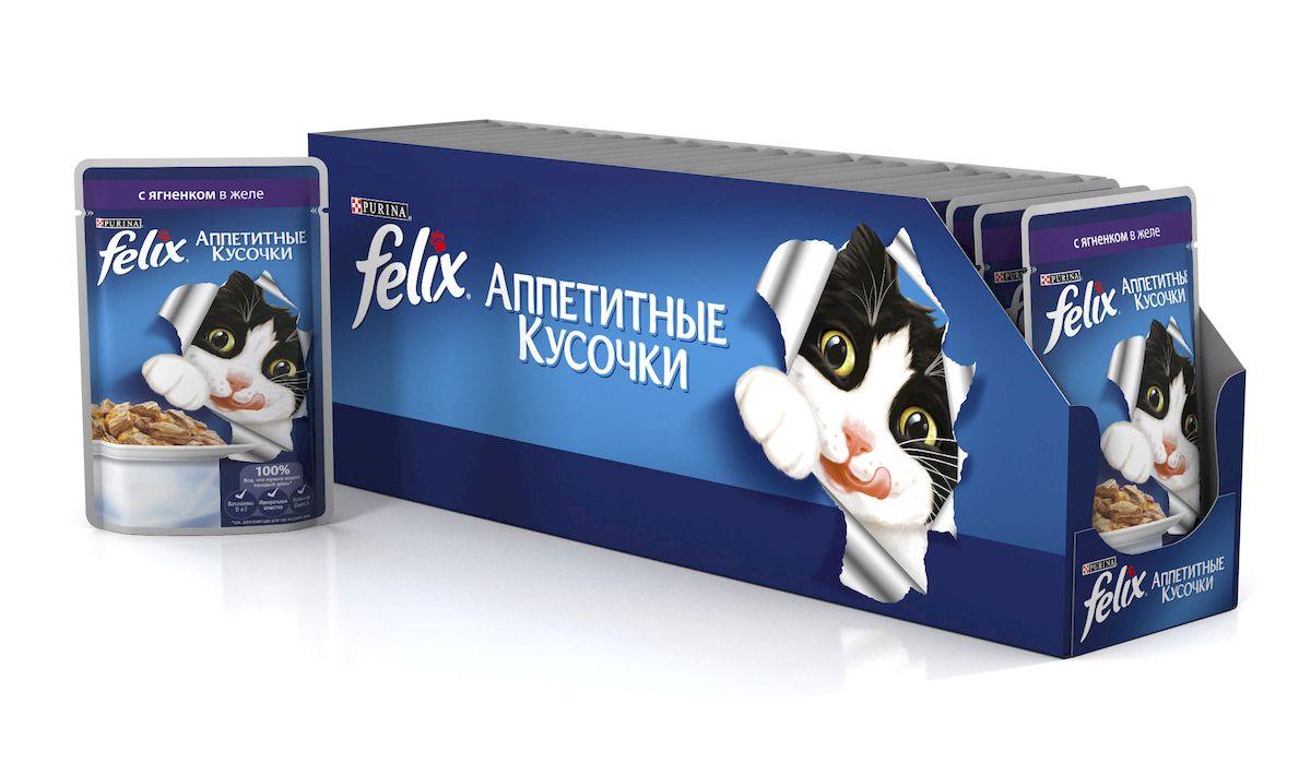 Консервы для кошек Felix Аппетитные кусочки, с ягненком в желе, 85 г, 24 шт0120710Консервы для кошек Felix Аппетитные кусочки - это полнорационный корм для кошек. У него такой аппетитный вид и аромат, словно его приготовили вы сами. Felix Аппетитные кусочки создан по специально разработанной рецептуре: это нежнейшие кусочки с мясом, покрытые сочным желе. Ваш кот будет готов есть такую вкуснятину хоть каждый день - на завтрак, обед и ужин.Рекомендации по кормлению: Для взрослой кошки среднего веса (4кг) требуется примерно 3 пакетика в день. Кормление желательно разделить на два приема. Для беременных или кормящих кошек кормление без ограничений. Подавать корм при комнатной температуре. Следите, чтобы у вашей кошки всегда была чистая, свежая питьевая вода.Условия хранения: Закрытую упаковку хранить при температуре от +4°C до +35°C и относительной влажности воздуха не более 75%. После открытия продукт хранить в холодильнике максимум 24 часа. Состав: мясо и продукты его переработки 19% (ягненок мин. 4%), экстракт растительного белка, рыба и продукты ее переработки, минеральные вещества, сахара, витамины. Добавленные вещества: МЕ/кг: Витамины: А 725, D3 110, витамин Е 16; мг/кг железо 25,5, йод 0,32, медь 2,8, марганец 5,0, цинк 40, таурин 450. Гарантируемые показатели: влажность 80,0%, белок 13,0%, жир 3,0%, сырая зола 2,2%, сырая клетчатка 0,5%, линолевая кислота (Омега 6): 0,2%.Вес: 85 г.Товар сертифицирован.