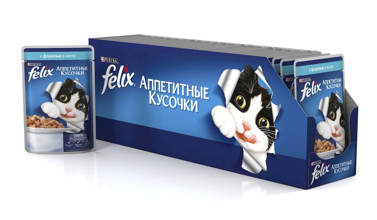 Консервы для кошек Felix Аппетитные кусочки, с форелью в желе, 85 г, 24 шт0120710Консервы для кошек Felix Аппетитные кусочки - это полнорационный корм для кошек. У него такой аппетитный вид и аромат, словно его приготовили вы сами. Felix Аппетитные кусочки создан по специально разработанной рецептуре: это нежнейшие кусочки с рыбой, покрытые сочным желе. Ваш кот будет готов есть такую вкуснятину хоть каждый день - на завтрак, обед и ужин.Рекомендации по кормлению: Для взрослой кошки среднего веса (4 кг) требуется примерно 3 пакетика в день. Кормление желательно разделить на два приема. Для беременных или кормящих кошек кормление без ограничений. Подавать корм при комнатной температуре. Следите, чтобы у вашей кошки всегда была чистая, свежая питьевая вода.Условия хранения: Закрытую упаковку хранить при температуре от +4°C до +35°C и относительной влажности воздуха не более 75%. После открытия продукт хранить в холодильнике максимум 24 часа. Состав: мясо и продукты его переработки 17%, экстракт растительного белка, рыба и продукты ее переработки (в том числе форель мин.4%), минеральные вещества, сахара, витамины. Добавленные вещества: МЕ/кг: Витамины: А 725, D3 110, витамин Е 16; мг/кг железо 25,5, йод 0,32, медь 2,8, марганец 5,0, цинк 40, таурин 450. Гарантируемые показатели: влажность 80,0%, белок 13,0%, жир 3,0%, сырая зола 2,2%, сырая клетчатка 0,5%, линолевая кислота (Омега 6): 0,2%.Вес: 85 г.Товар сертифицирован.