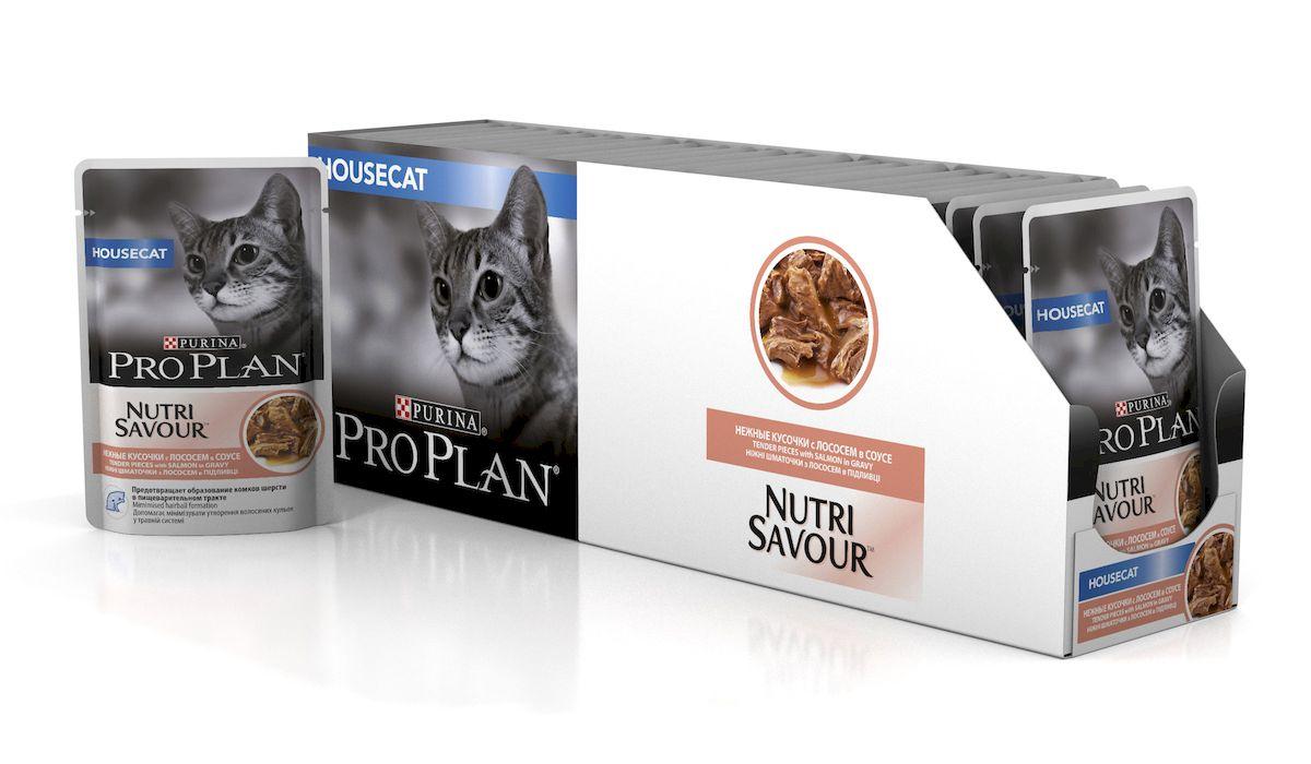 Консервы Pro Plan Nutri Savour для домашних кошек, с лососем, 85 г, 24 шт0120710Корм полнорационный консервированный Pro Plan Nutri Savour для взрослых кошек, с индейкой в соусе. Высокое содержание белка способствует поддержанию идеальной массы тела. Снижение образования комков шерсти в желудке благодаря высокому содержанию клетчатки. Содержание пребиотиков способствует здоровому пищеварению и уменьшению запаха из лотка. Нежные кусочки в пикантном соусе очень привлекательны для кошек благодаря запатентованной технологии производства департамента Purina компании Nestle.Состав: мясо и продукты переработки мяса, экстракты растительных белков, рыба и продукты переработки рыбы (в том числе лосось), растительные и животные жиры, минеральные вещества, красители, антиоксиданты, сахара, продукты переработки растительного сырья, витамины.Добавленные вещества: МЕ/кг: витамин А 1036, витамин D3 145, витамин Е 267, мг/кг: таурин 447, железо 9,89, йод 0,37, медь 0,94, марганец 1,73, цинк 26,77, селен 0,022.Гарантируемые показатели: влажность 79%, белок 12%, жир 4%, сырая зола 2,4%, сырая клетчатка 1,1%.Товар сертифицирован.