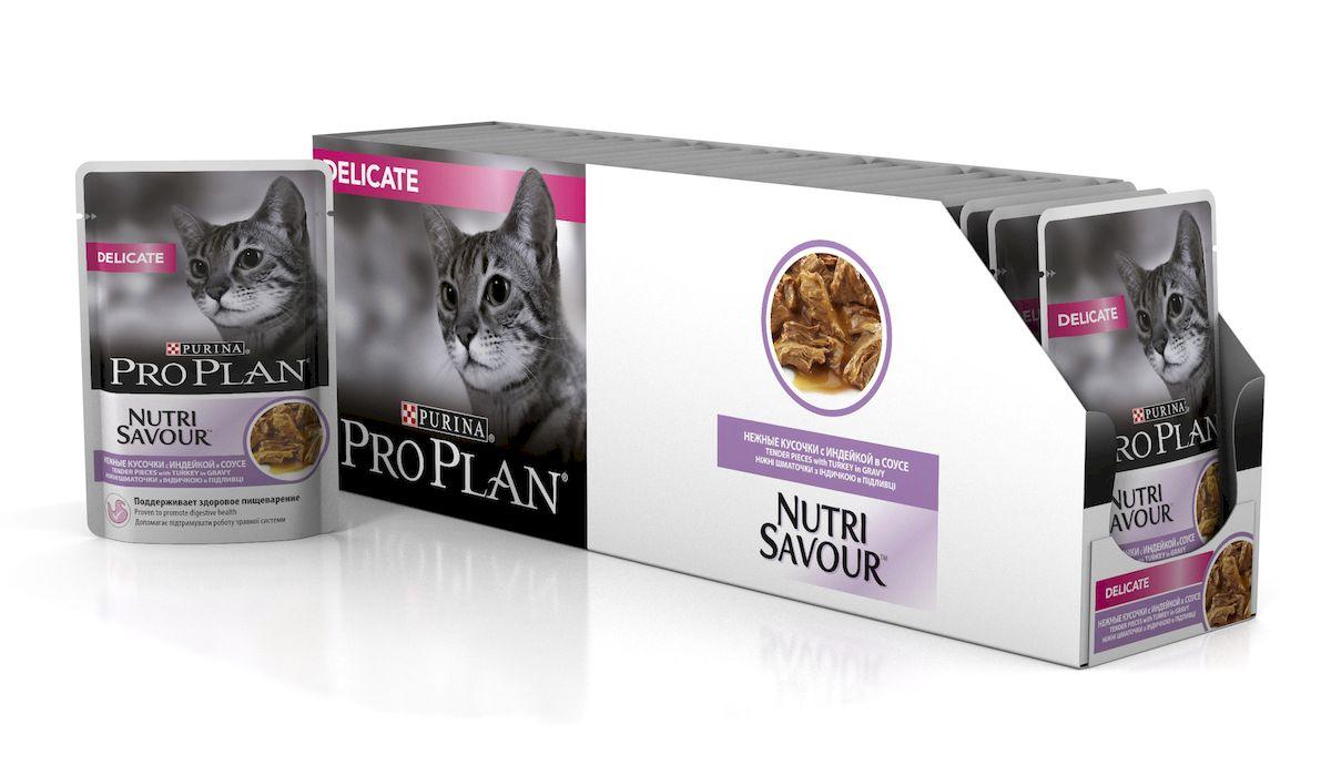 Консервы Pro Plan Nutri Savour, для кошек с чувствительным пищеварением, с индейкой, 85 г, 24 шт57490_24Влажный корм Консервы Pro Plan Nutri Savourподойдет для взрослых кошек с чувствительным пищеварением. Корм изготовлен с индейкой в соусе. Снижает риск возникновения кожных реакций, вызываемых непереносимостью к пище.Состав: мясо и продукты переработки мяса (в том числе индейка 4%), экстракты растительных белков, рыба и продукты переработки рыбы, растительные и животные жиры, продукты переработки растительного сырья, минеральные вещества, сахара, витамины, антиоксиданты, красители.Товар сертифицирован.