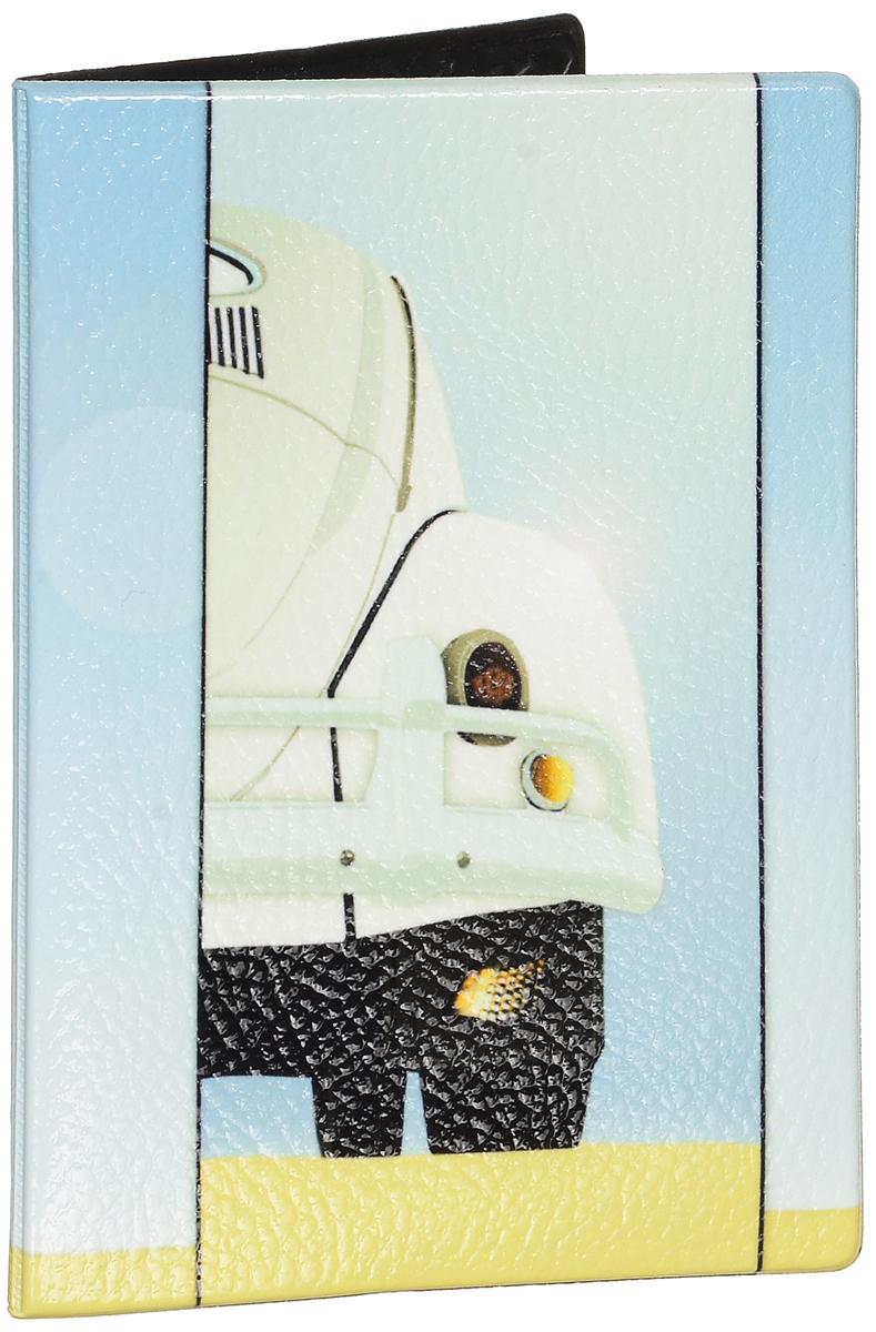 Обложка для паспорта Эврика Авто, цвет: бледно-голубой, бежевый. 9255693295Оригинальная обложка для паспорта Эврика понравится вам с первого взгляда. Она изготовлена из качественного ПВХ и оформлена оригинальным принтом. Внутри расположены прозрачные карманы для фиксации паспорта.Такая обложка не только поможет сохранить внешний вид вашего паспорта и защитить его от повреждений, но и станет стильным аксессуаром.